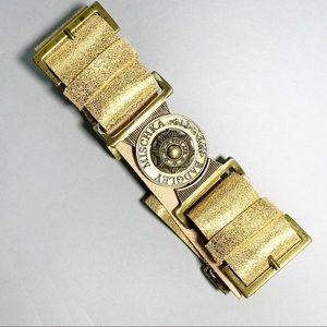 Badgley Mischka Leather Metallic Waist Belt Medium